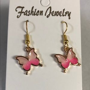 Gold with pink and white butterfly earrings